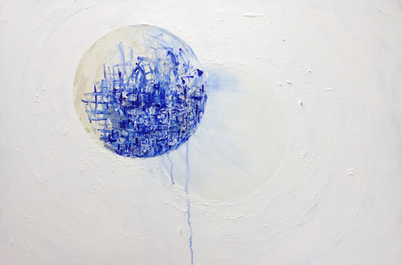 Michelle Aki Becker Circle Study no 7 large canvas white blue acrylic painting
